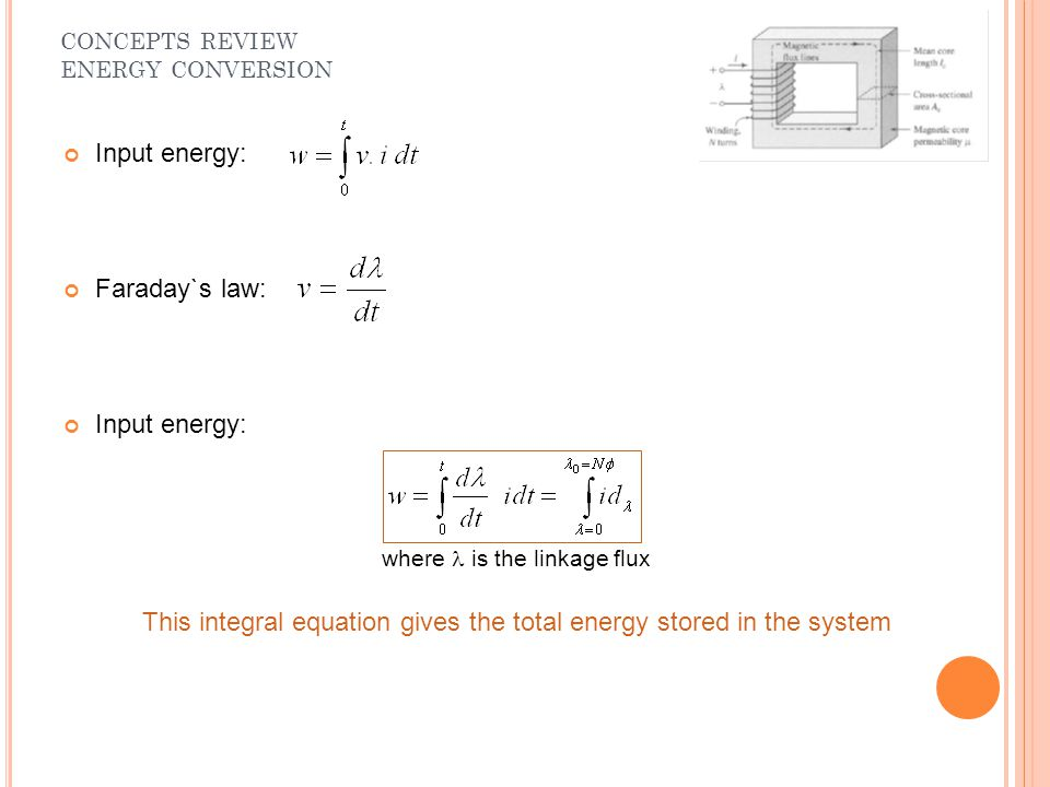 Input energy: Faraday`s law: Input energy: where is the linkage flux This integral equation gives the total energy stored in the system CONCEPTS REVIE