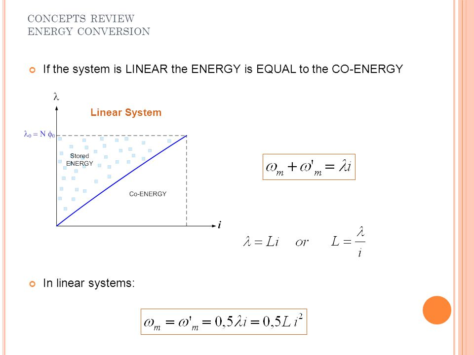 If the system is LINEAR the ENERGY is EQUAL to the CO-ENERGY In linear systems: CONCEPTS REVIEW ENERGY CONVERSION Linear System