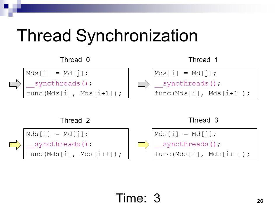 Thread Synchronization Mds[i] = Md[j]; __syncthreads(); func(Mds[i], Mds[i+1]); Mds[i] = Md[j]; __syncthreads(); func(Mds[i], Mds[i+1]); Mds[i] = Md[j]; __syncthreads(); func(Mds[i], Mds[i+1]); Mds[i] = Md[j]; __syncthreads(); func(Mds[i], Mds[i+1]); Time: 3 Thread 0Thread 1 Thread 2 Thread 3 26