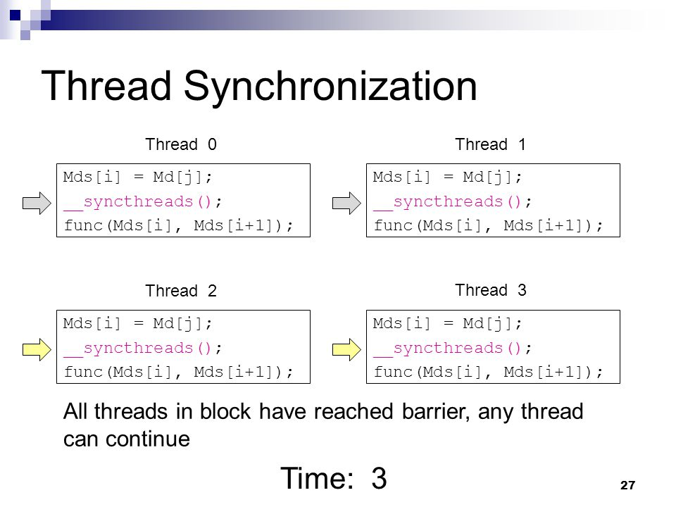 Thread Synchronization Mds[i] = Md[j]; __syncthreads(); func(Mds[i], Mds[i+1]); Mds[i] = Md[j]; __syncthreads(); func(Mds[i], Mds[i+1]); Mds[i] = Md[j]; __syncthreads(); func(Mds[i], Mds[i+1]); Mds[i] = Md[j]; __syncthreads(); func(Mds[i], Mds[i+1]); Time: 3 Thread 0Thread 1 Thread 2 Thread 3 All threads in block have reached barrier, any thread can continue 27