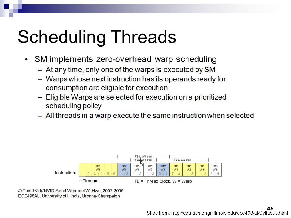 Scheduling Threads Slide from: http://courses.engr.illinois.edu/ece498/al/Syllabus.html 45