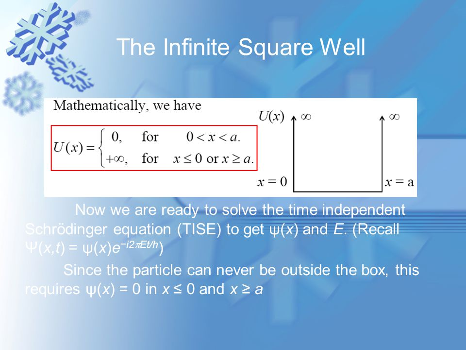Inside the box 0 < x < a, since U(x) = 0, the TISE becomes The 1-D TISE is a second-order ordinary differential equation which has a general solution of where A and B are any complex constants or ψ (x) =Asinkx+Bcoskx.