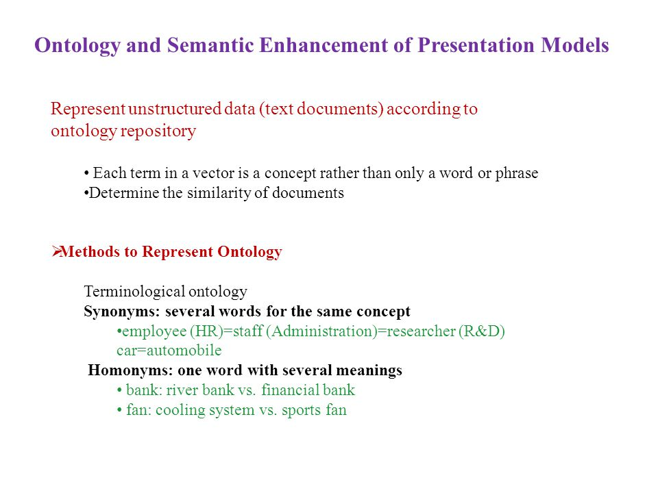 Ontology and Semantic Enhancement of Presentation Models Represent unstructured data (text documents) according to ontology repository Each term in a vector is a concept rather than only a word or phrase Determine the similarity of documents  Methods to Represent Ontology Terminological ontology Synonyms: several words for the same concept employee (HR)=staff (Administration)=researcher (R&D) car=automobile Homonyms: one word with several meanings bank: river bank vs.