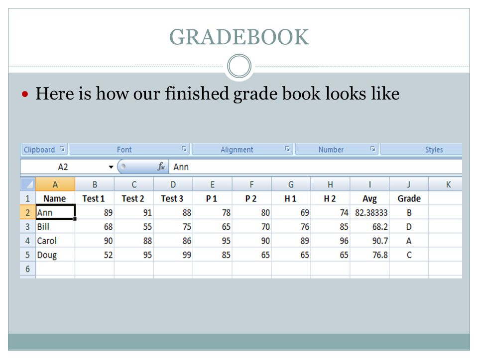 GRADEBOOK Here is how our finished grade book looks like