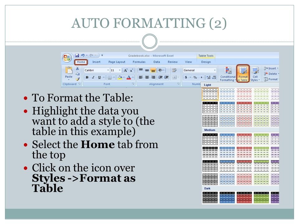 AUTO FORMATTING (2) To Format the Table: Highlight the data you want to add a style to (the table in this example) Select the Home tab from the top Click on the icon over Styles ->Format as Table
