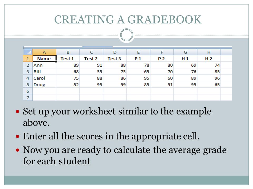 CREATING A GRADEBOOK Set up your worksheet similar to the example above.