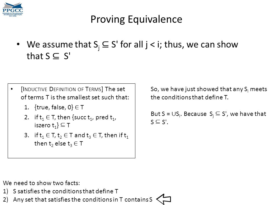 Proving Equivalence We assume that S j ⊆ S for all j < i; thus, we can show that S ⊆ S We need to show two facts: 1)S satisfies the conditions that define T 2)Any set that satisfies the conditions in T contains S [I NDUCTIVE D EFINITION OF T ERMS ] The set of terms T is the smallest set such that: 1.{true, false, 0} ∈ T 2.if t 1 ∈ T, then {succ t 1, pred t 1, iszero t 1 } ⊆ T 3.if t 1 ∈ T, t 2 ∈ T and t 3 ∈ T, then if t 1 then t 2 else t 3 ∈ T So, we have just showed that any S i meets the conditions that define T.