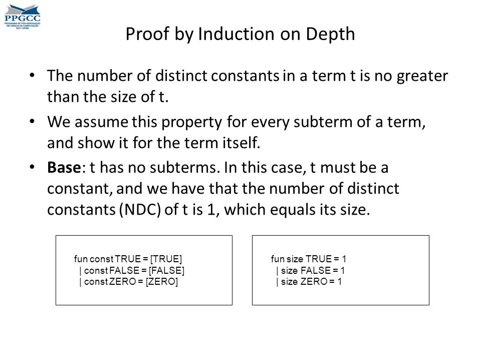 Proof by Induction on Depth The number of distinct constants in a term t is no greater than the size of t.