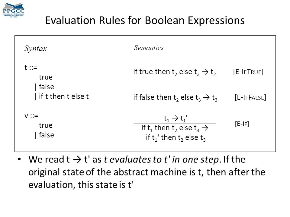 Evaluation Rules for Boolean Expressions t 1 → t 1 if t 1 then t 2 else t 3 → if t 1 then t 2 else t 3 Syntax t ::= true | false | if t then t else t v ::= true | false if true then t 2 else t 3 → t 2 [E-I F T RUE ] Semantics if false then t 2 else t 3 → t 3 [E-I F F ALSE ] [E-I F ] We read t → t as t evaluates to t in one step.