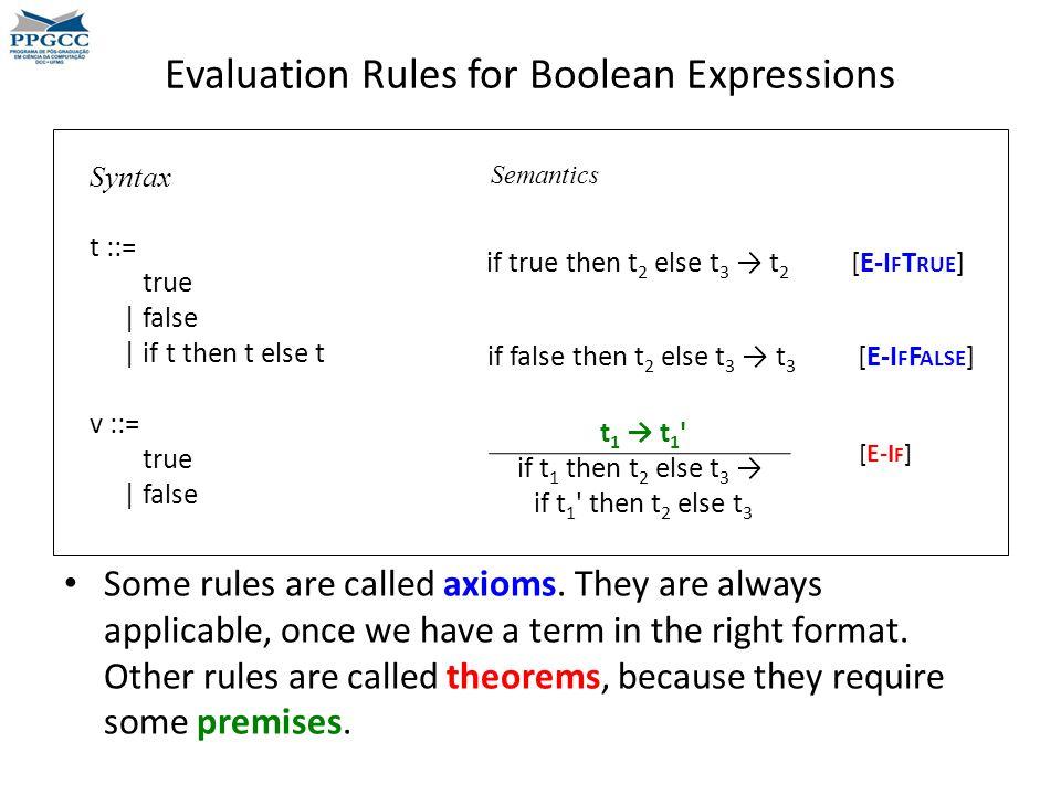 Evaluation Rules for Boolean Expressions t 1 → t 1 if t 1 then t 2 else t 3 → if t 1 then t 2 else t 3 Syntax t ::= true | false | if t then t else t v ::= true | false if true then t 2 else t 3 → t 2 [E-I F T RUE ] Semantics if false then t 2 else t 3 → t 3 [E-I F F ALSE ] [E-I F ] Some rules are called axioms.