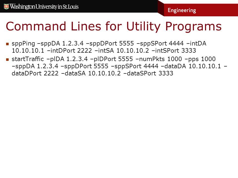 Command Lines for Utility Programs sppPing –sppDA 1.2.3.4 –sppDPort 5555 –sppSPort 4444 –intDA 10.10.10.1 –intDPort 2222 –intSA 10.10.10.2 –intSPort 3333 startTraffic –plDA 1.2.3.4 –plDPort 5555 –numPkts 1000 –pps 1000 –sppDA 1.2.3.4 –sppDPort 5555 –sppSPort 4444 –dataDA 10.10.10.1 – dataDPort 2222 –dataSA 10.10.10.2 –dataSPort 3333