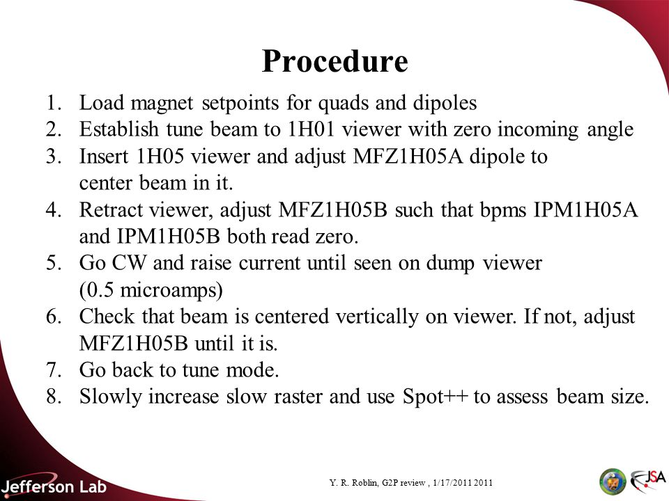 Y. R. Roblin, G2P review, 1/17/2011 2011 Procedure 1.Load magnet setpoints for quads and dipoles 2.Establish tune beam to 1H01 viewer with zero incomi