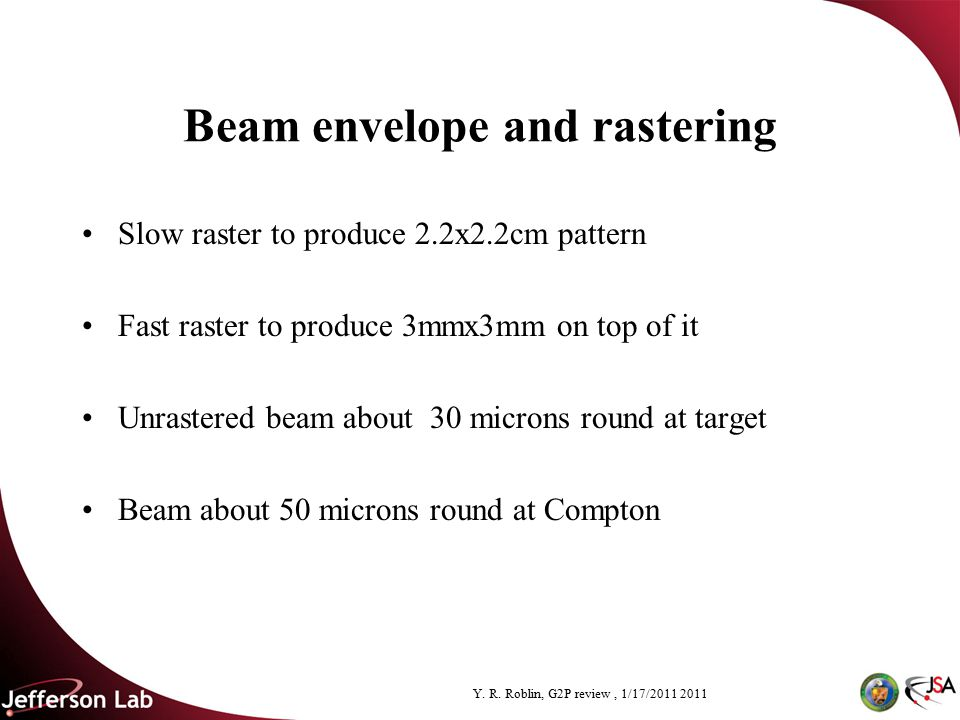 Y. R. Roblin, G2P review, 1/17/2011 2011 Beam envelope and rastering Slow raster to produce 2.2x2.2cm pattern Fast raster to produce 3mmx3mm on top of