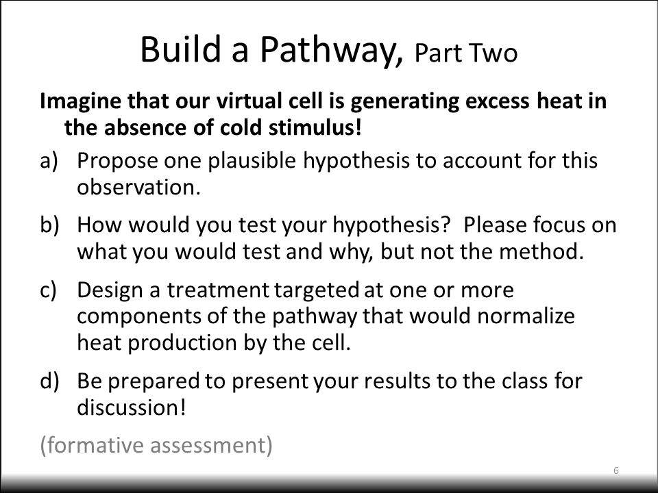 Build a Pathway, Part Two Imagine that our virtual cell is generating excess heat in the absence of cold stimulus! a)Propose one plausible hypothesis