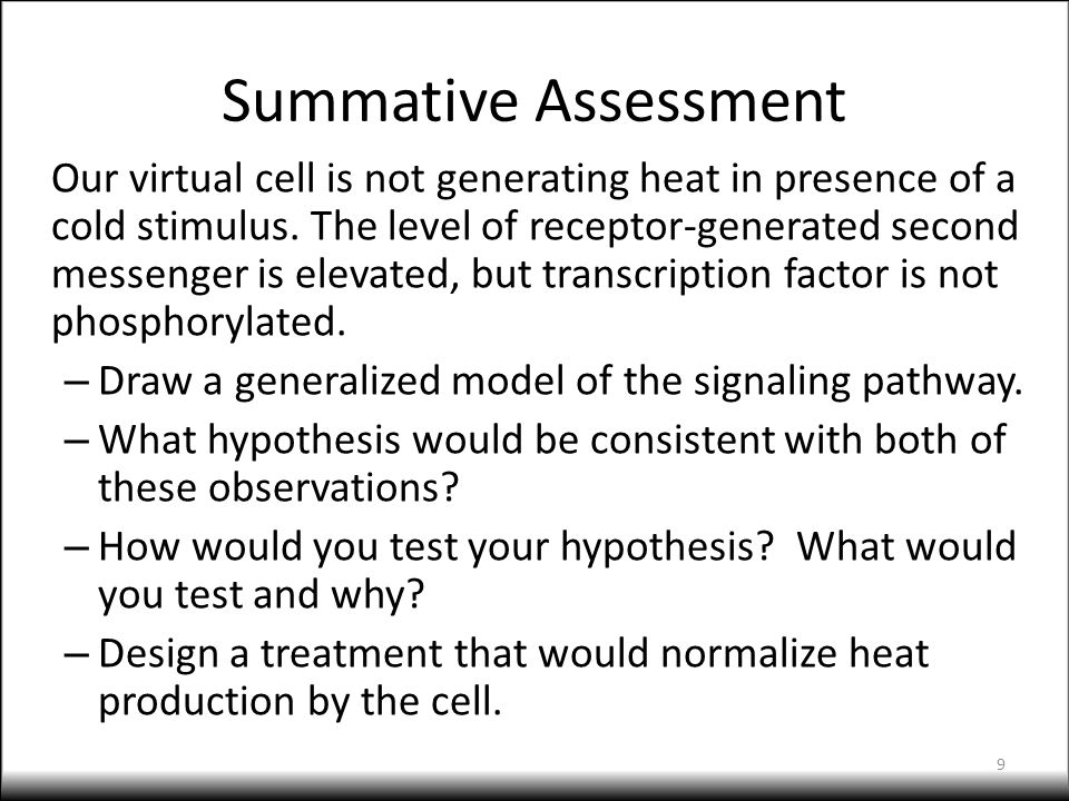 Summative Assessment Our virtual cell is not generating heat in presence of a cold stimulus. The level of receptor-generated second messenger is eleva