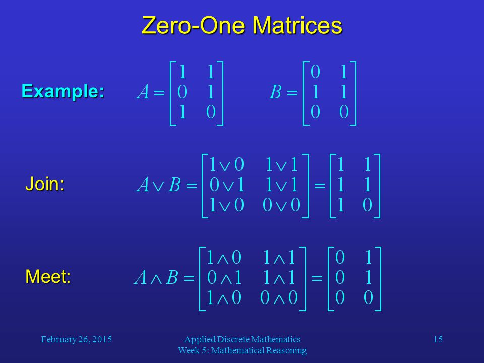 February 26, 2015Applied Discrete Mathematics Week 5: Mathematical Reasoning 15 Zero-One Matrices Example: Join: Meet:
