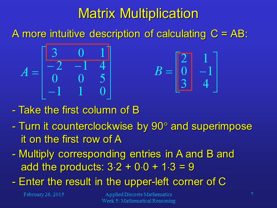 February 26, 2015Applied Discrete Mathematics Week 5: Mathematical Reasoning 18 Zero-One Matrices Let A be a square zero-one matrix and r be a positive integer.