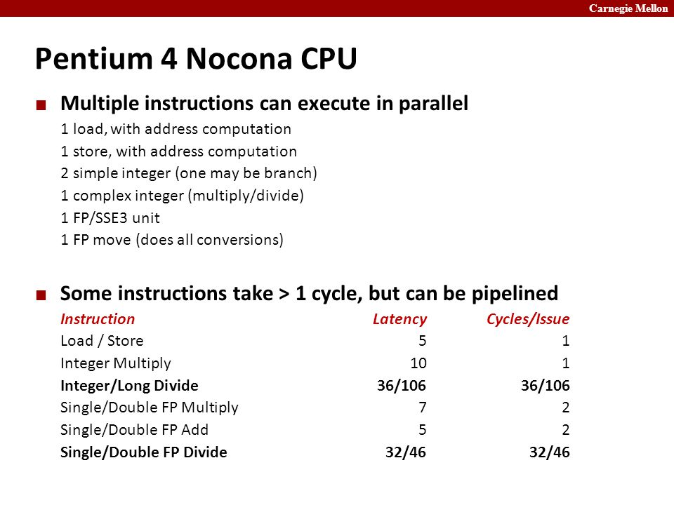 Carnegie Mellon Pentium 4 Nocona CPU Multiple instructions can execute in parallel 1 load, with address computation 1 store, with address computation 2 simple integer (one may be branch) 1 complex integer (multiply/divide) 1 FP/SSE3 unit 1 FP move (does all conversions) Some instructions take > 1 cycle, but can be pipelined InstructionLatencyCycles/Issue Load / Store51 Integer Multiply101 Integer/Long Divide36/10636/106 Single/Double FP Multiply72 Single/Double FP Add52 Single/Double FP Divide32/4632/46