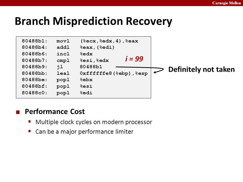 Carnegie Mellon Branch Misprediction Recovery Performance Cost  Multiple clock cycles on modern processor  Can be a major performance limiter 80488b1:movl (%ecx,%edx,4),%eax 80488b4:addl %eax,(%edi) 80488b6:incl %edx 80488b7:cmpl %esi,%edx 80488b9:jl 80488b1 80488bb:leal 0xffffffe8(%ebp),%esp 80488be:popl %ebx 80488bf:popl %esi 80488c0:popl %edi i = 99 Definitely not taken