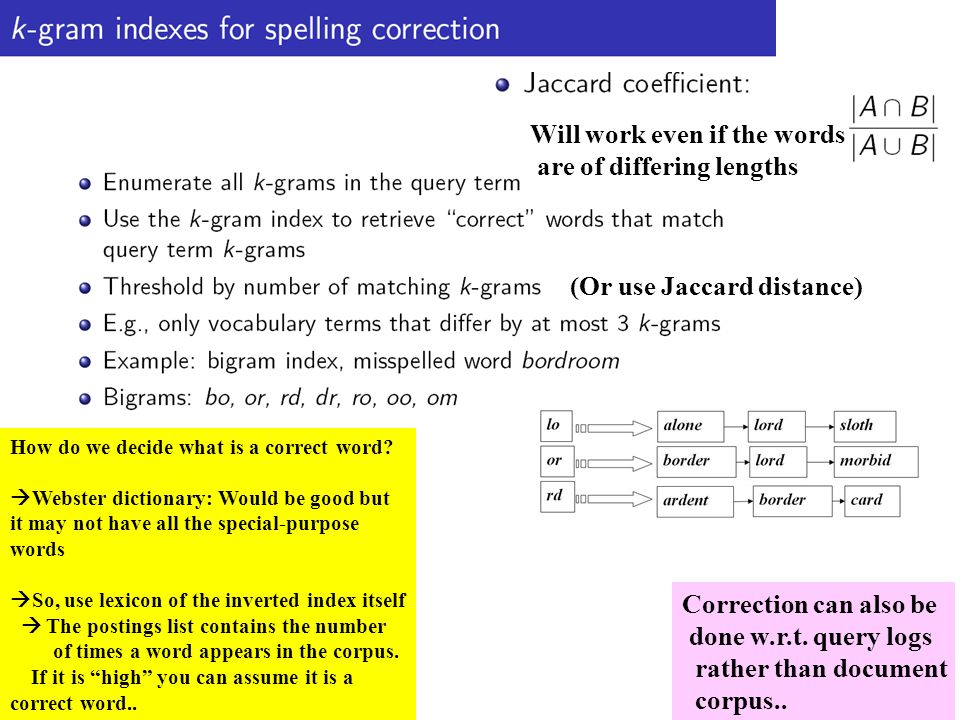 Will work even if the words are of differing lengths How do we decide what is a correct word.