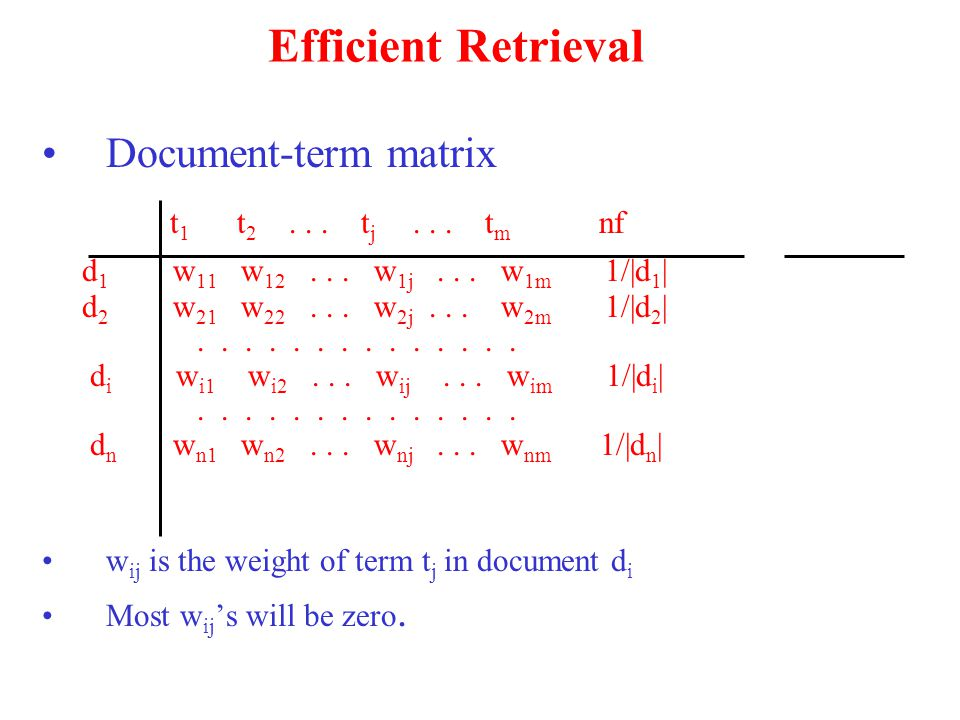Efficient Retrieval Document-term matrix t 1 t 2...