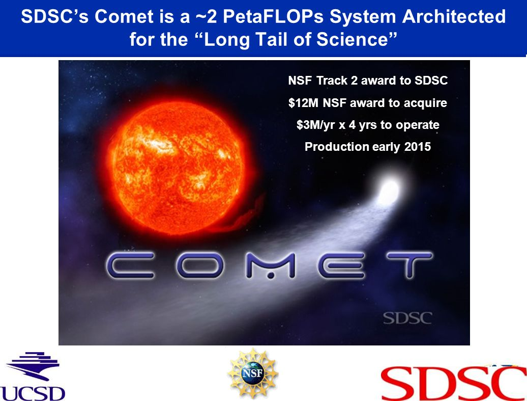 "SDSC's Comet is a ~2 PetaFLOPs System Architected for the ""Long Tail of Science"" NSF Track 2 award to SDSC $12M NSF award to acquire $3M/yr x 4 yrs to"