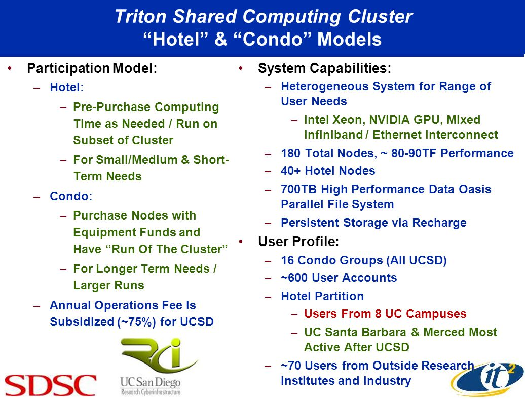 Triton Shared Computing Cluster Hotel & Condo Models Participation Model: –Hotel: –Pre-Purchase Computing Time as Needed / Run on Subset of Cluster –For Small/Medium & Short- Term Needs –Condo: –Purchase Nodes with Equipment Funds and Have Run Of The Cluster –For Longer Term Needs / Larger Runs –Annual Operations Fee Is Subsidized (~75%) for UCSD System Capabilities: –Heterogeneous System for Range of User Needs –Intel Xeon, NVIDIA GPU, Mixed Infiniband / Ethernet Interconnect –180 Total Nodes, ~ 80-90TF Performance –40+ Hotel Nodes –700TB High Performance Data Oasis Parallel File System –Persistent Storage via Recharge User Profile: –16 Condo Groups (All UCSD) –~600 User Accounts –Hotel Partition –Users From 8 UC Campuses –UC Santa Barbara & Merced Most Active After UCSD –~70 Users from Outside Research Institutes and Industry