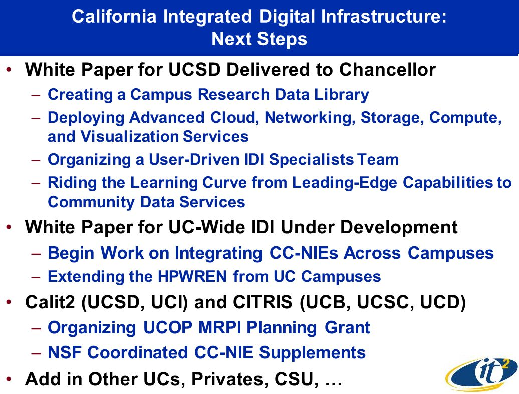 California Integrated Digital Infrastructure: Next Steps White Paper for UCSD Delivered to Chancellor –Creating a Campus Research Data Library –Deploy