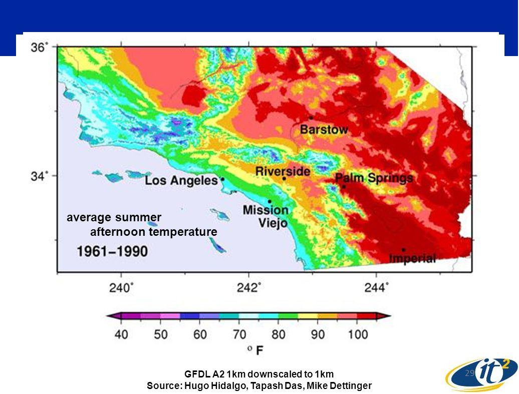 average summer afternoon temperature average summer afternoon temperature 29 GFDL A2 1km downscaled to 1km Source: Hugo Hidalgo, Tapash Das, Mike Dettinger