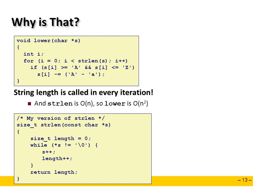 – 13 – Why is That. String length is called in every iteration.