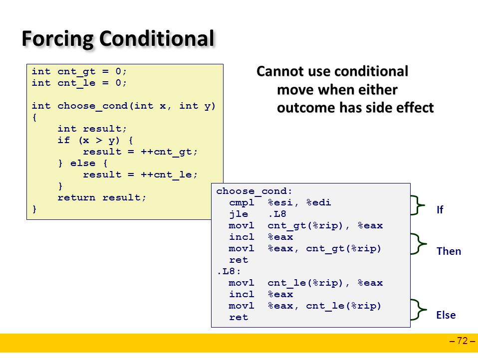 – 72 – Forcing Conditional Cannot use conditional move when either outcome has side effect int cnt_gt = 0; int cnt_le = 0; int choose_cond(int x, int y) { int result; if (x > y) { result = ++cnt_gt; } else { result = ++cnt_le; } return result; } choose_cond: cmpl %esi, %edi jle.L8 movl cnt_gt(%rip), %eax incl %eax movl %eax, cnt_gt(%rip) ret.L8: movl cnt_le(%rip), %eax incl %eax movl %eax, cnt_le(%rip) ret If Then Else