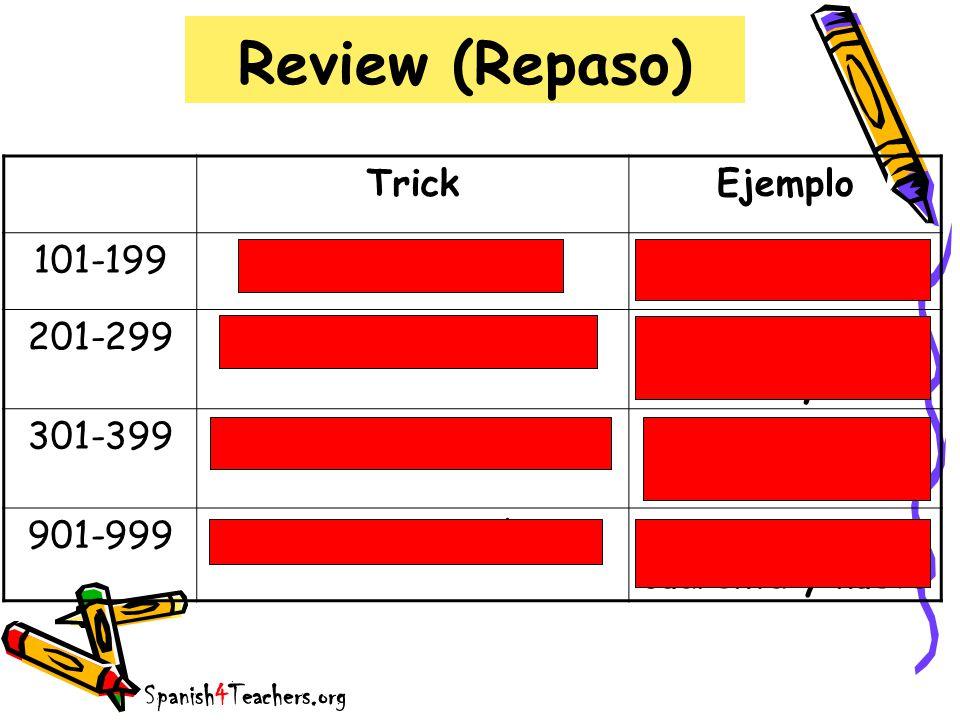 Review (Repaso) TrickEjemplo 101-199ciento + númerociento dos 201-299doscientos + númerodoscientos treinta y tres 301-399trescientos + númerotrescientos veintiseis 901-999novecientos + número novecientos cuarenta y nueve Spanish4Teachers.org