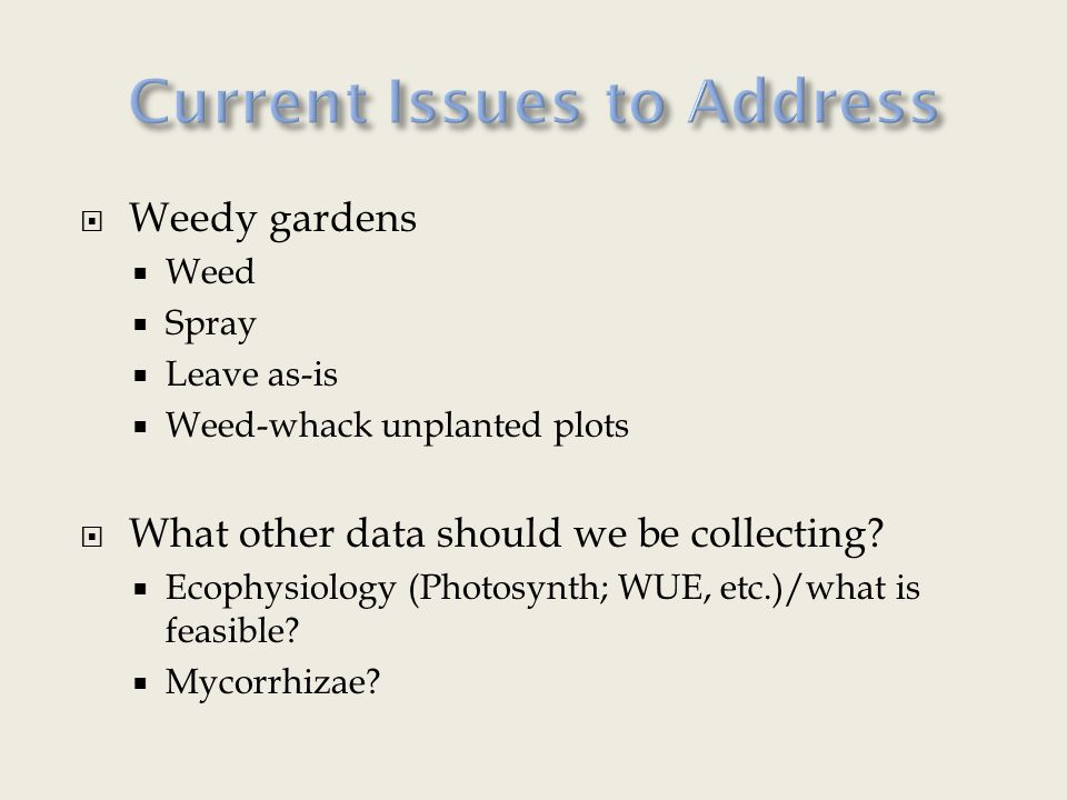  Weedy gardens  Weed  Spray  Leave as-is  Weed-whack unplanted plots  What other data should we be collecting.