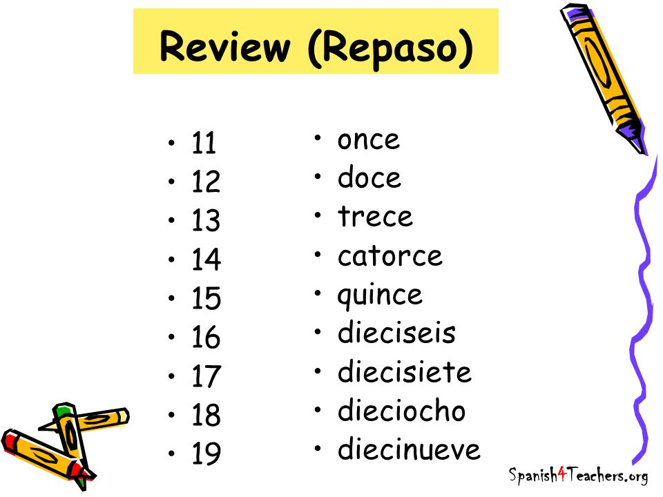 Review (Repaso) 11 12 13 14 15 16 17 18 19 once doce trece catorce quince dieciseis diecisiete dieciocho diecinueve Spanish4Teachers.org