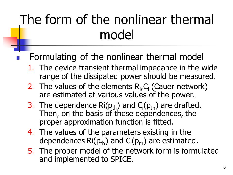 6 The form of the nonlinear thermal model Formulating of the nonlinear thermal model 1.The device transient thermal impedance in the wide range of the dissipated power should be measured.