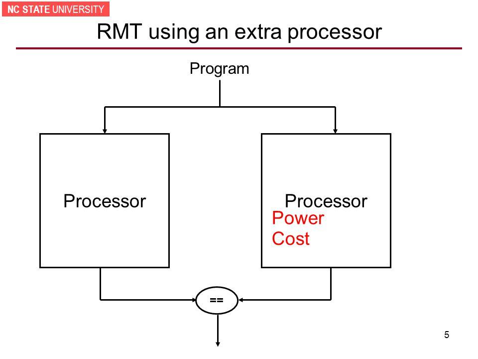NC STATE UNIVERSITY 5 RMT using an extra processor Processor == Program Power Cost