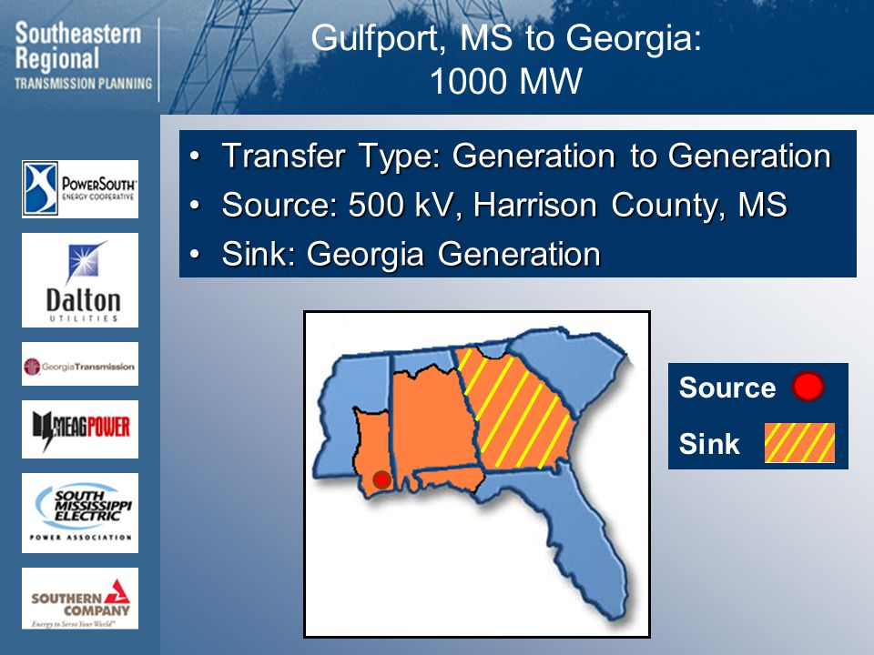 Source Sink Gulfport, MS to Georgia: 1000 MW Transfer Type: Generation to GenerationTransfer Type: Generation to Generation Source: 500 kV, Harrison County, MSSource: 500 kV, Harrison County, MS Sink: Georgia GenerationSink: Georgia Generation