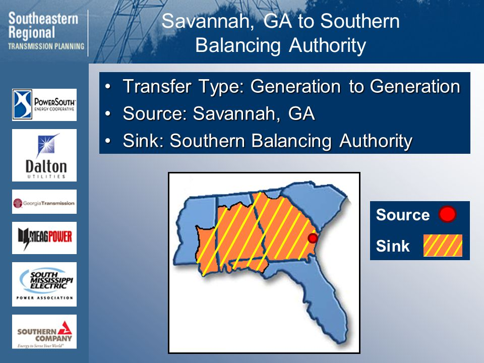 Source Sink Savannah, GA to Southern Balancing Authority Transfer Type: Generation to GenerationTransfer Type: Generation to Generation Source: Savannah, GASource: Savannah, GA Sink: Southern Balancing AuthoritySink: Southern Balancing Authority