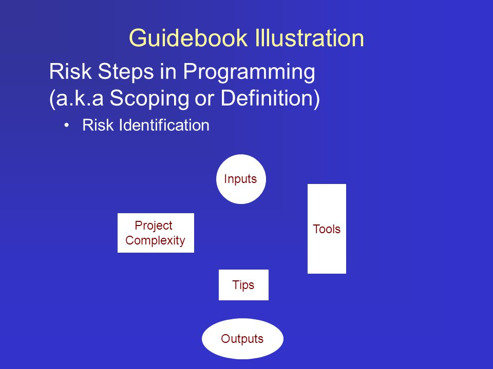 Risk Steps in Programming (a.k.a Scoping or Definition) Risk Identification Guidebook Illustration Inputs Tips Outputs Tools Project Complexity