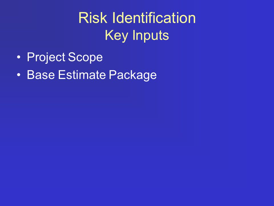 Risk Identification Key Inputs Project Scope Base Estimate Package