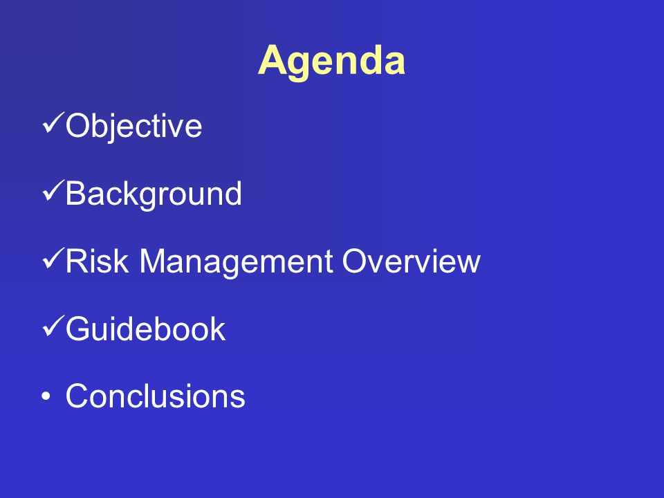 Agenda Objective Background Risk Management Overview Guidebook Conclusions