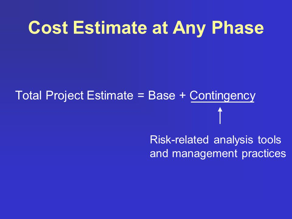 Cost Estimate at Any Phase Total Project Estimate = Base + Contingency Risk-related analysis tools and management practices