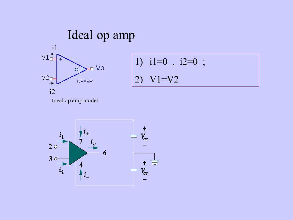 Ideal op amp 1)i1=0, i2=0 ; 2)V1=V2 Ideal op amp model i1 i2