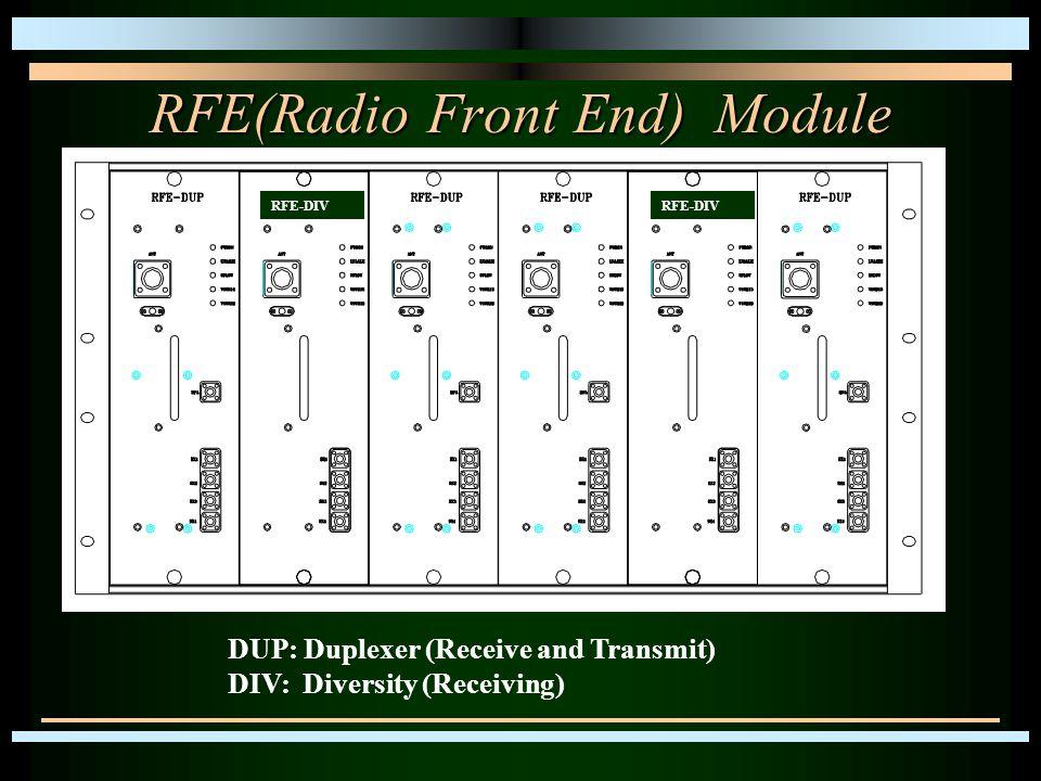 RFE(Radio Front End) Module DUP: Duplexer (Receive and Transmit) DIV: Diversity (Receiving) RFE-DIV
