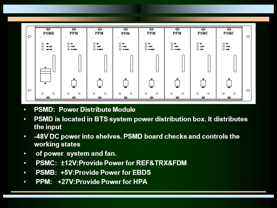 PSMD: Power Distribute Module PSMD is located in BTS system power distribution box.