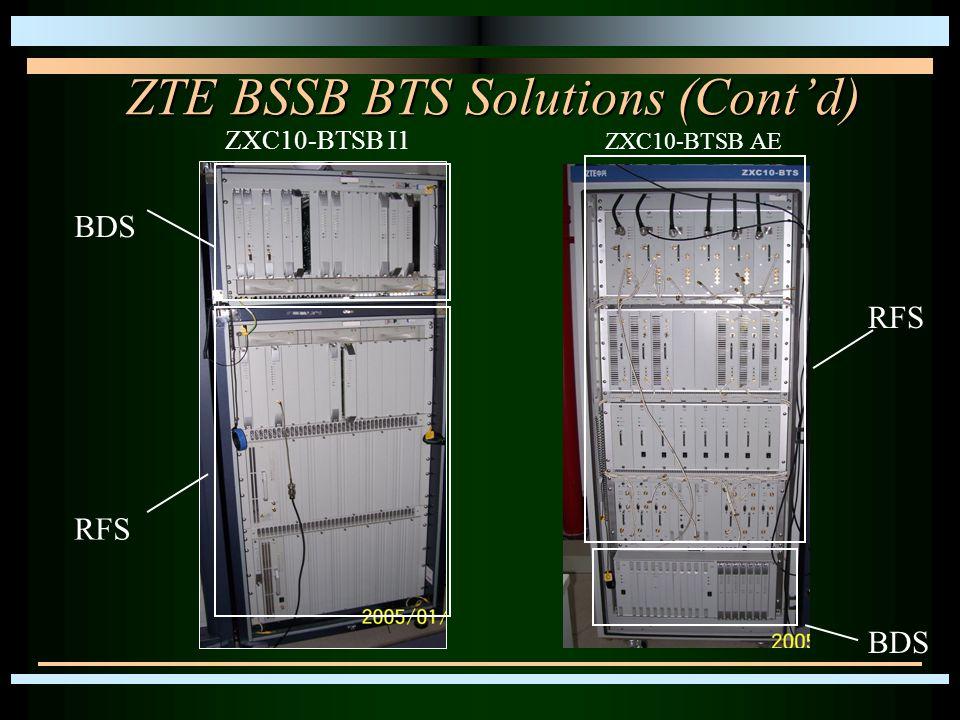 ZTE BSSB BTS Solutions (Cont'd) ZXC10-BTSB I1 ZXC10-BTSB AE BDS RFS BDS RFS
