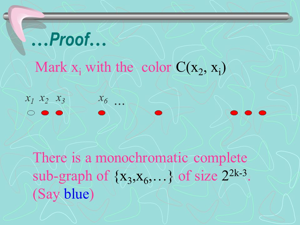 Now, we have a min-homogeneous sequence {x i 1, x i 2, x i 3, …, x i 2k } Mark x i a with C(x i a, x i b ) for all b > a.