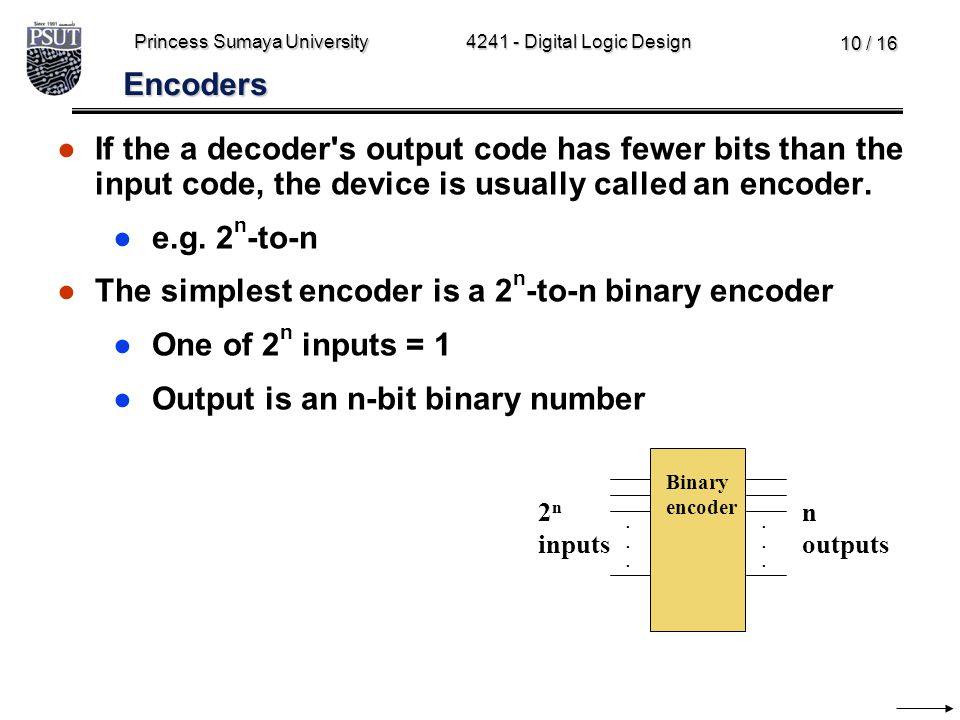 Princess Sumaya University4241 - Digital Logic Design 10 / 16 Encoders ●If the a decoder's output code has fewer bits than the input code, the device