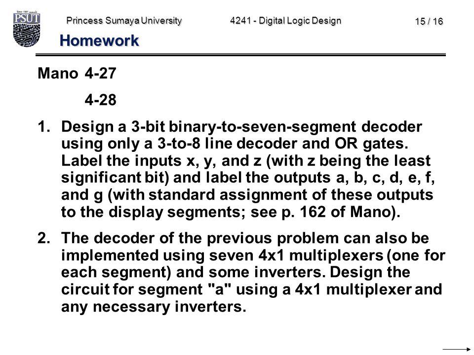 Princess Sumaya University4241 - Digital Logic Design 15 / 16 Homework Mano4-27 4-28 1.Design a 3-bit binary-to-seven-segment decoder using only a 3-t