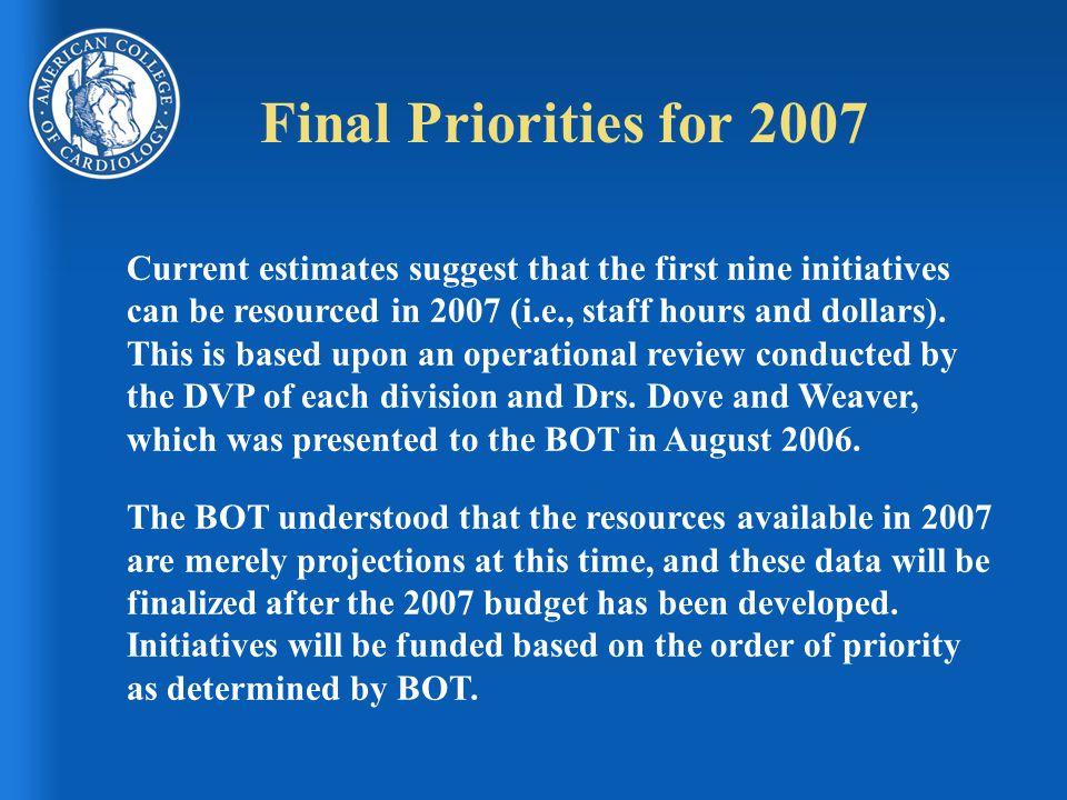 Final Priorities for 2007 Current estimates suggest that the first nine initiatives can be resourced in 2007 (i.e., staff hours and dollars).